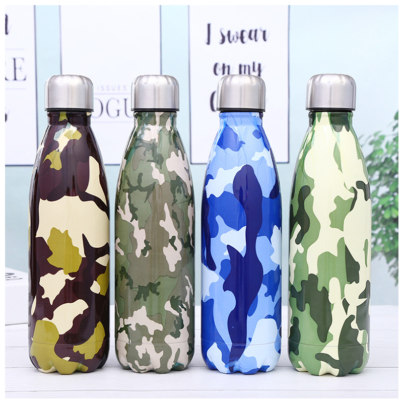 500ML Portable Stainless Steel Water Flask Camouflage Pattern Double Wall Vacuum Insulated Bottle - Pattern 2