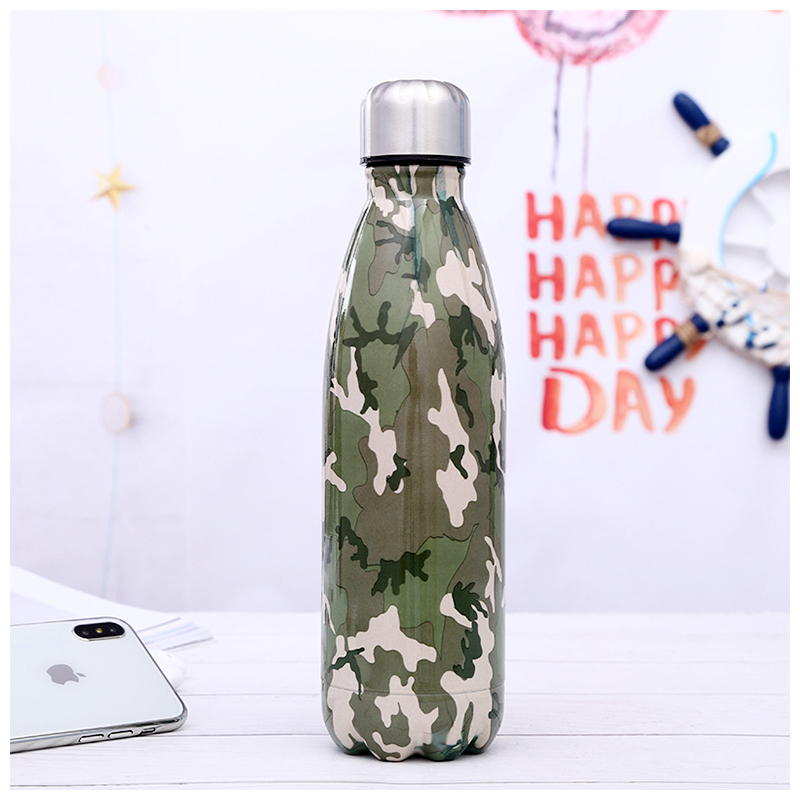 500ML Portable Stainless Steel Water Flask Camouflage Pattern Double Wall Vacuum Insulated Bottle - Pattern 3