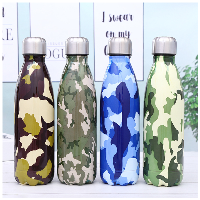 500ML Portable Stainless Steel Water Flask Camouflage Pattern Double Wall Vacuum Insulated Bottle - Pattern 4