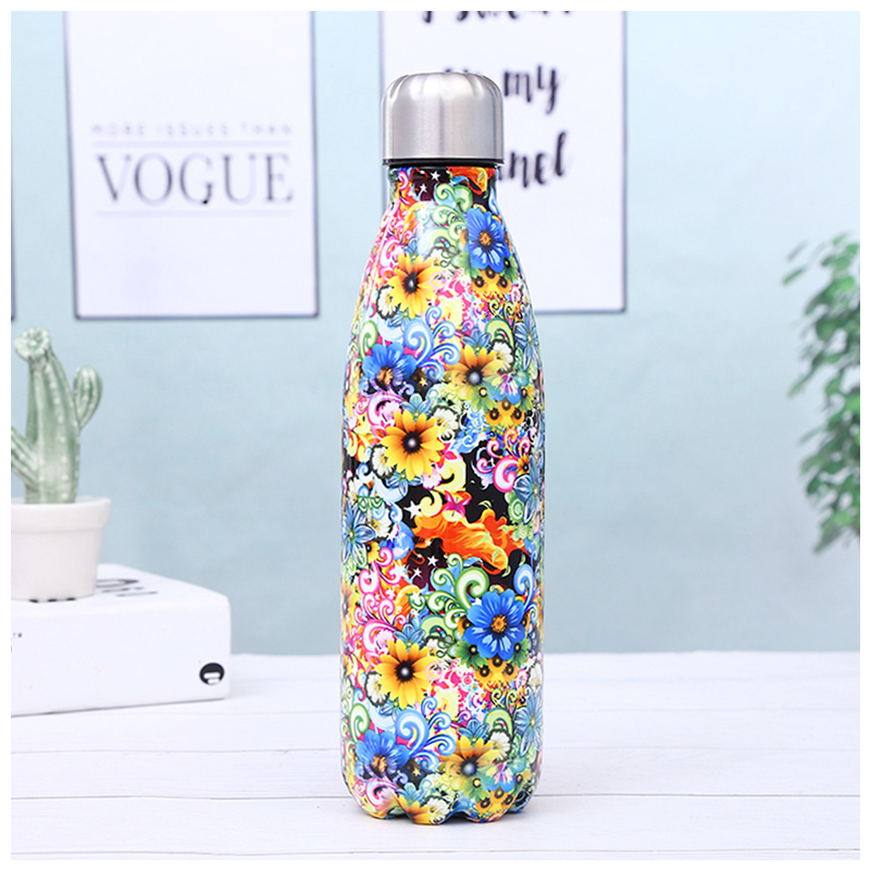 500ML Portable Stainless Steel Water Flask Flowers Pattern Double Wall Vacuum Insulated Bottle - Pattern 4