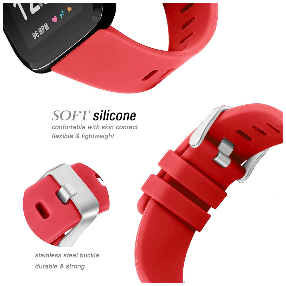 5.5-7.1 Inches Soft Silicone Sports Replacement Watch Band Wrist Strap for Fitbit Versa - Red
