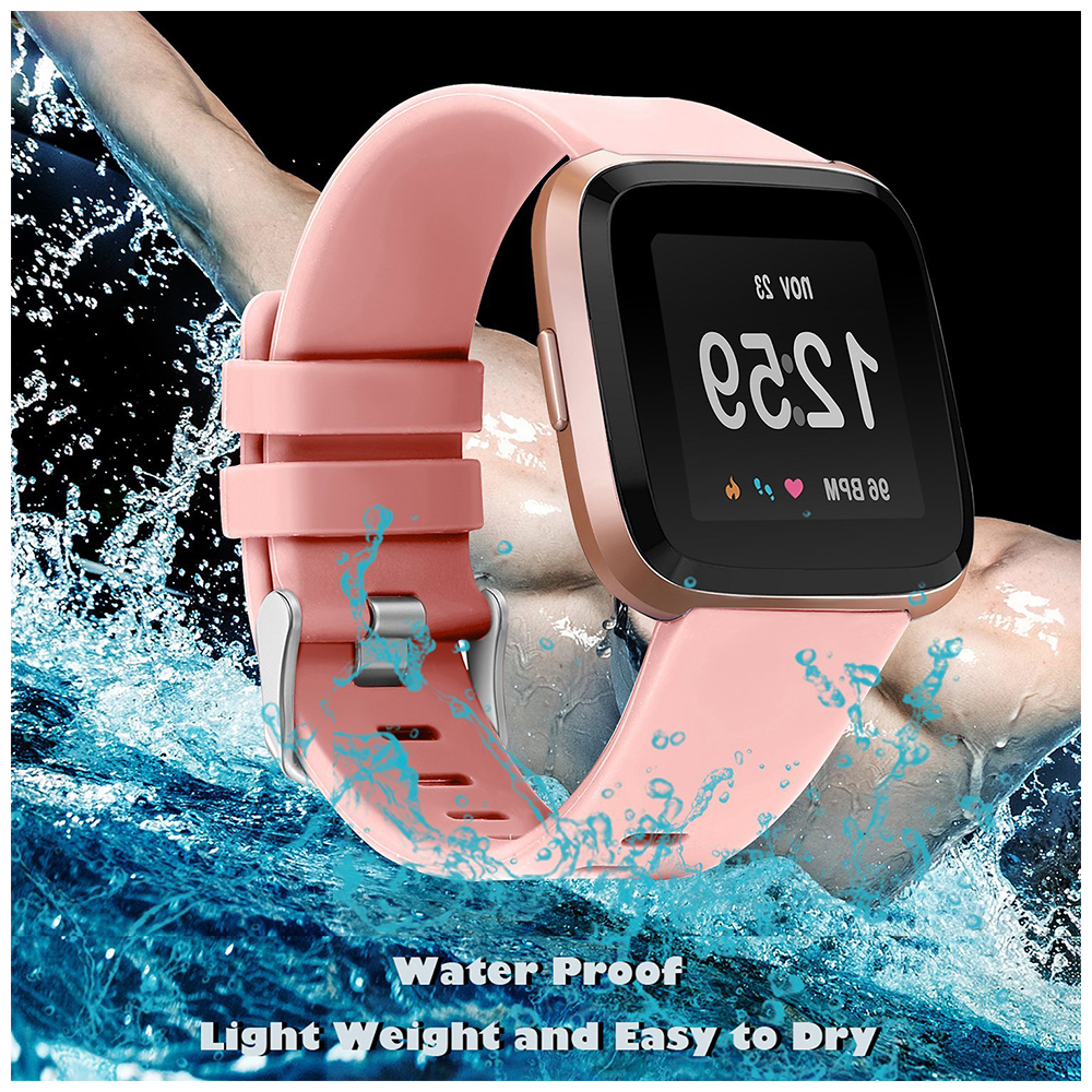 5.5-7.1 Inches Soft Silicone Sports Replacement Watch Band Wrist Strap for Fitbit Versa - Pink