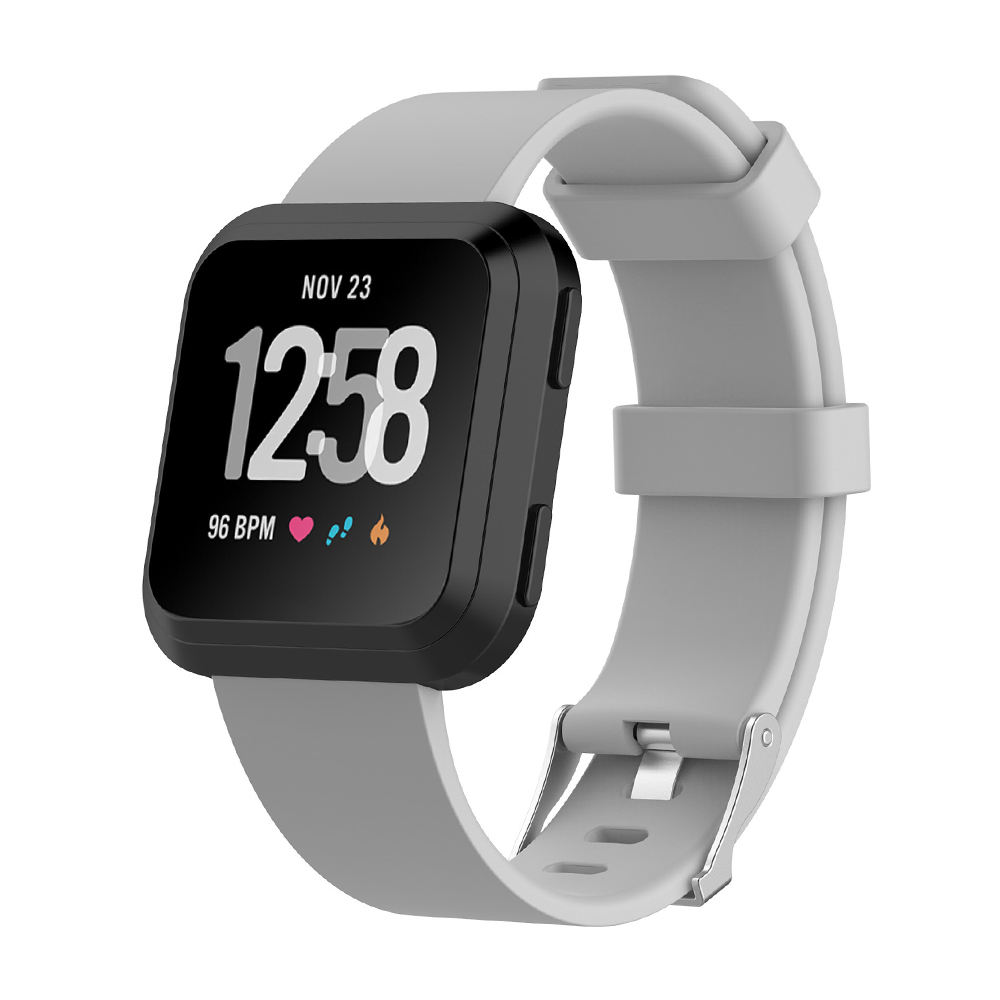 5.5-7.1 Inches Soft Silicone Sports Replacement Watch Band Wrist Strap for Fitbit Versa - Grey