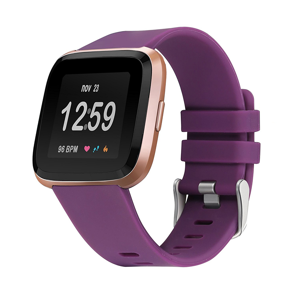 5.5-7.1 Inches Soft Silicone Sports Replacement Watch Band Wrist Strap for Fitbit Versa - Purple