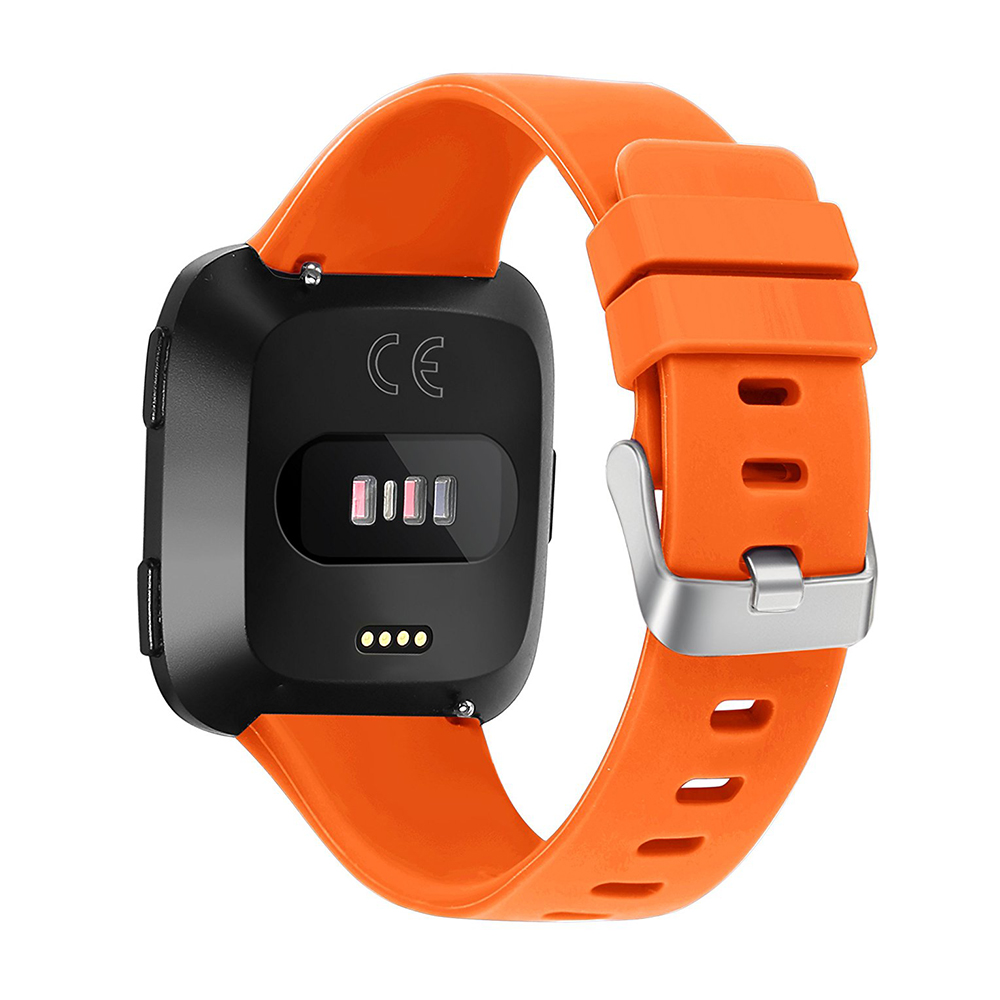 5.5-7.1 Inches Soft Silicone Sports Replacement Watch Band Wrist Strap for Fitbit Versa - Orange