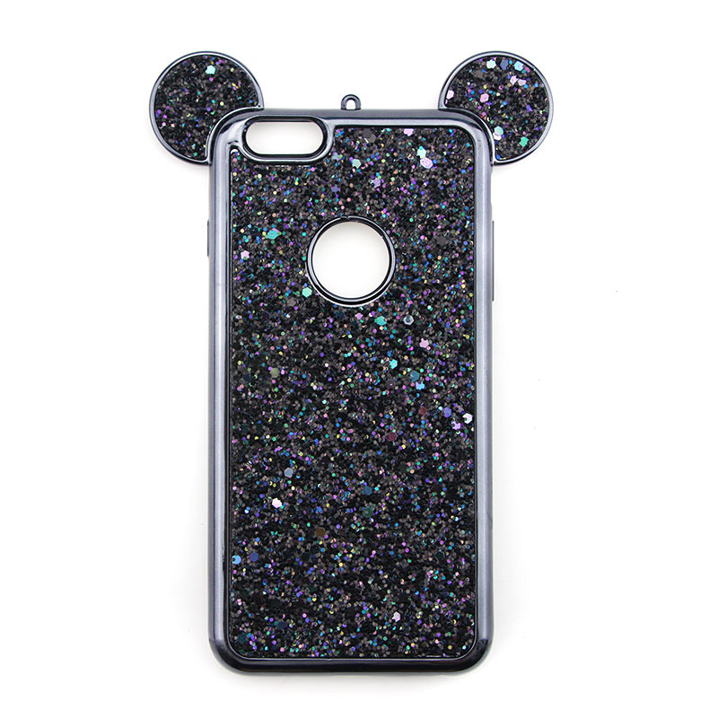 Luxury Bling Soft TPU Protective Case Cute Mickey Ear Phone Cover for iPhone 6/6S Plus - Black