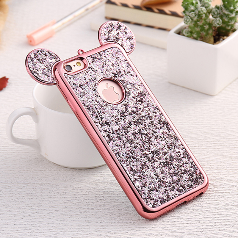Luxury Bling Soft TPU Protective Case Cute Mickey Ear Phone Cover for iPhone 6/6S Plus - Rose Golden