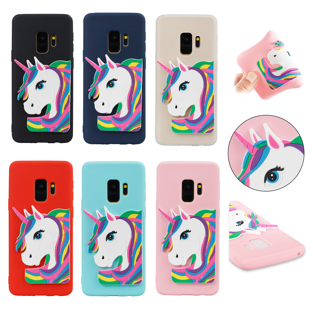 3D Cartoon Unicorn TPU Rubber Bumper Case Back Cover for Samsung Galaxy S9 - Red