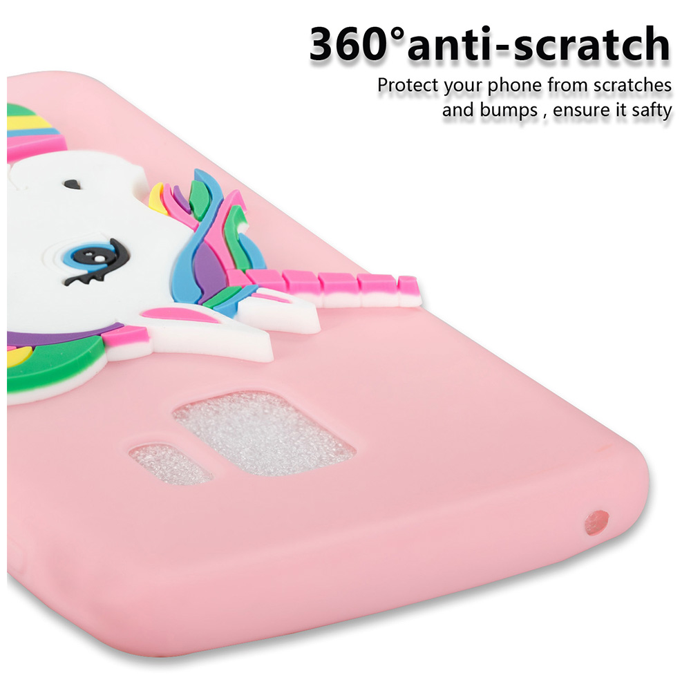 3D Cartoon Unicorn TPU Rubber Bumper Case Back Cover for Samsung Galaxy S9 - Pink