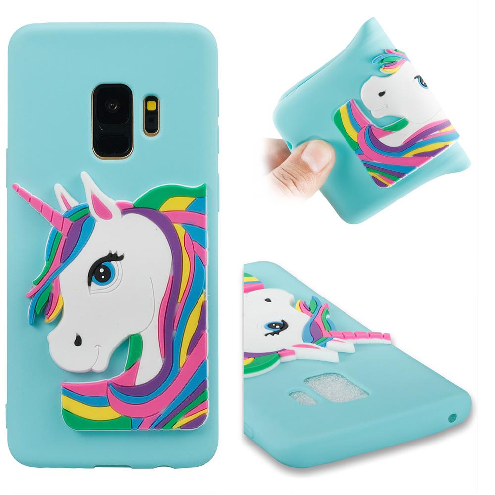 3D Cartoon Unicorn TPU Rubber Bumper Case Back Cover for Samsung Galaxy S9 - Blue