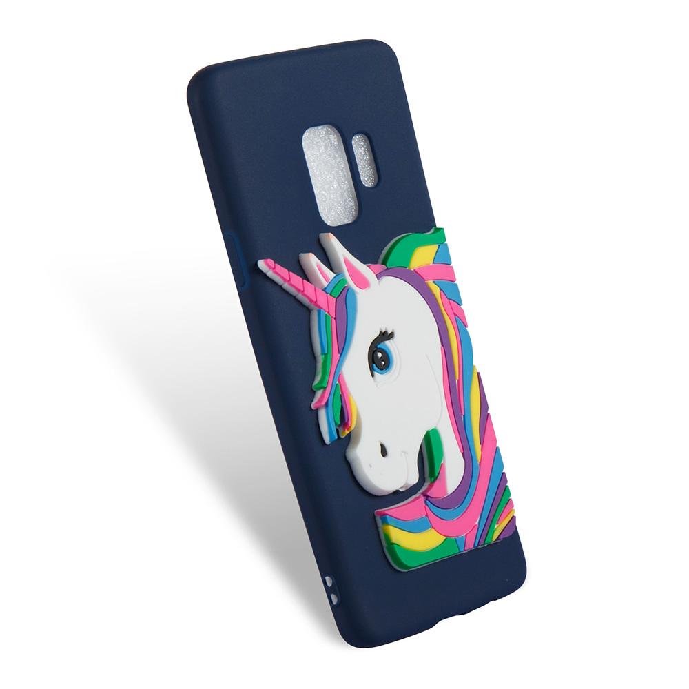 3D Cartoon Unicorn TPU Rubber Bumper Case Back Cover for Samsung Galaxy S9 - Navy Blue