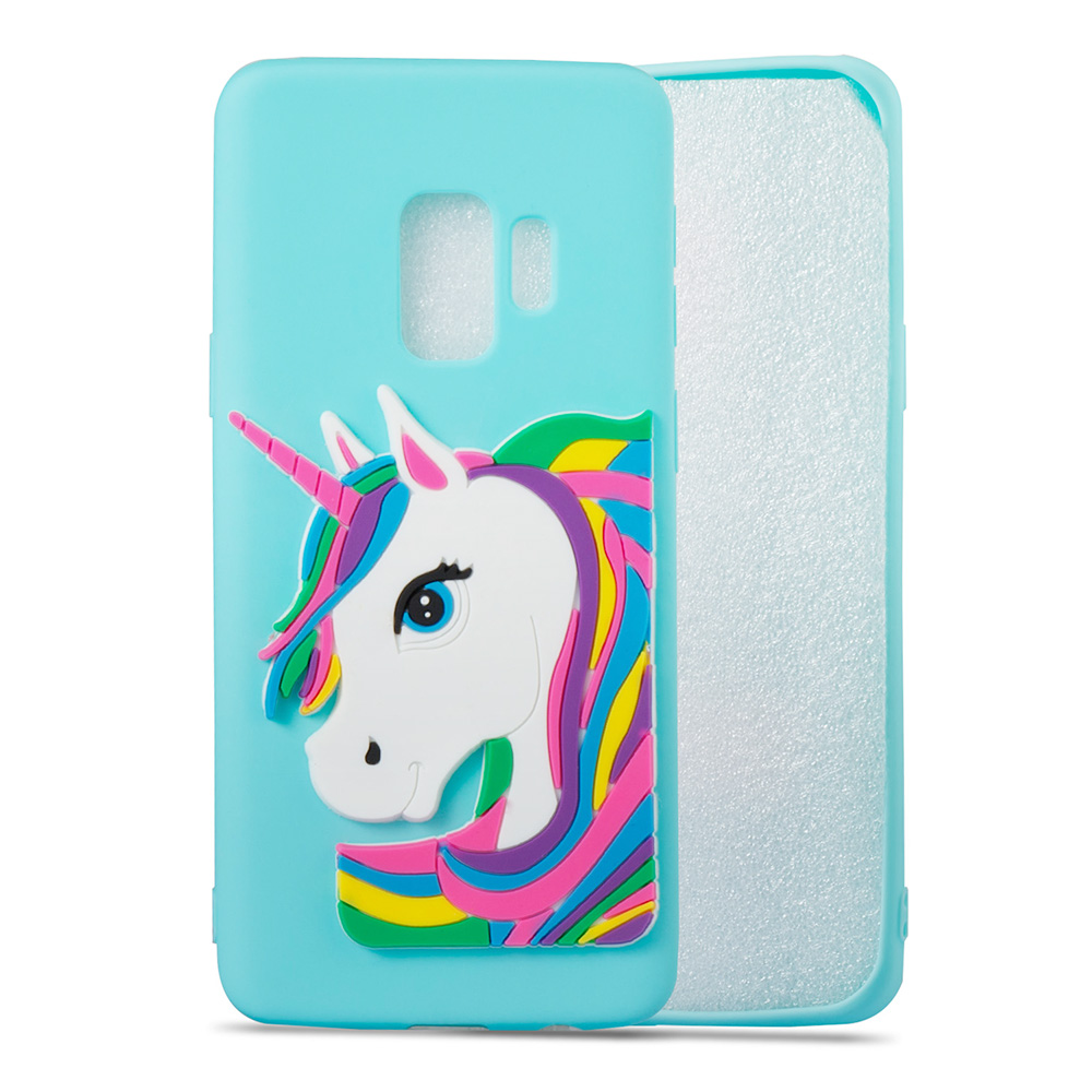 3D Cartoon Unicorn Cute TPU Case Soft Flexible Rubber Shockproof Back Cover for Samsung S9 Plus - Blue