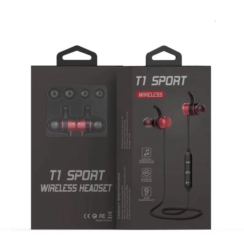 T1 Wireless Bluetooth Headset Sports Stereo In-Ear Headphone Earphone - Red