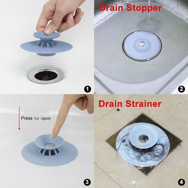 Soft Multi Functional Drain Stopper Hair Catcher for Bathroom Kitchen Laundry Floor - Blue