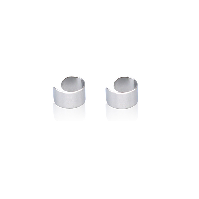 1 Pair Unisex Stainless Steel Cuff Hoop Fake Clip-on Earring Ear Stud Fashion Jewelry - Silver