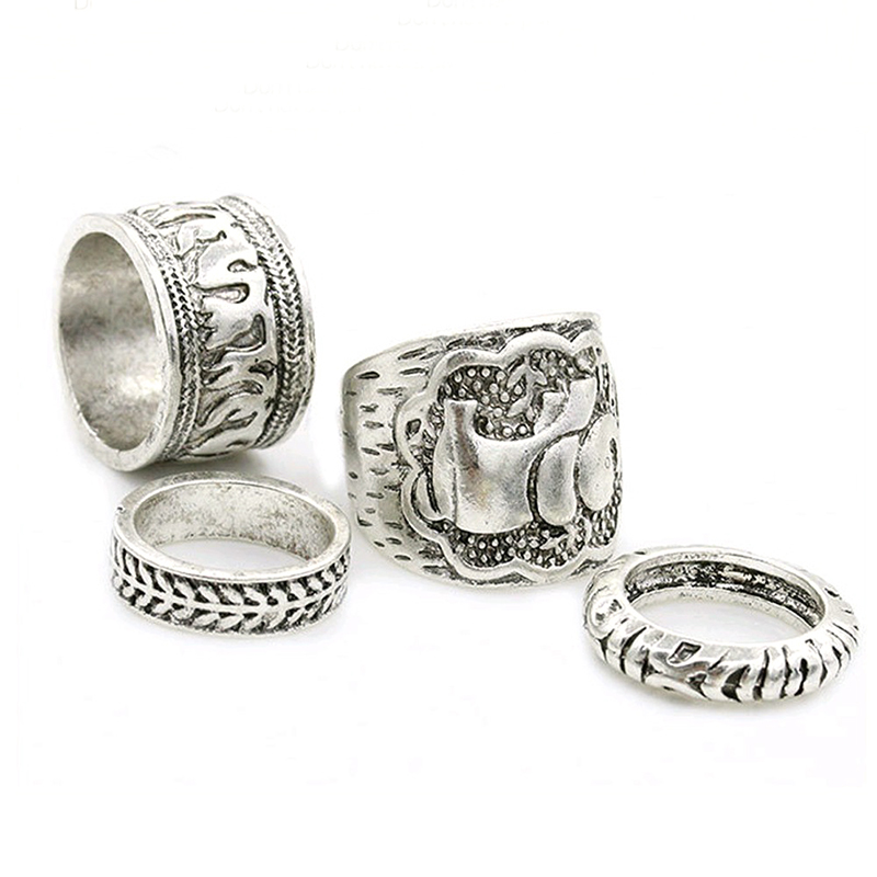 4PCS/Set Elephant Curved Retro Vintage Bohemian Antique Rings for Women Ladies - Silver
