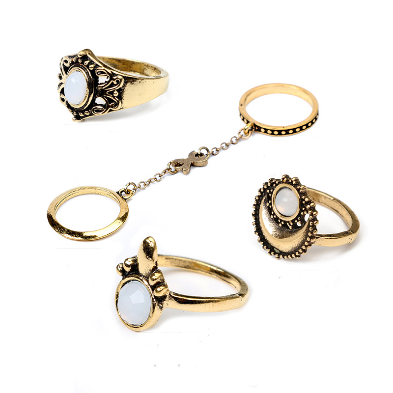 5PCS/Set Retro Boho Knuckle Chain Mittens Rings Beach Flower Tibetan Moon Sun Midi Ring Set - Golden