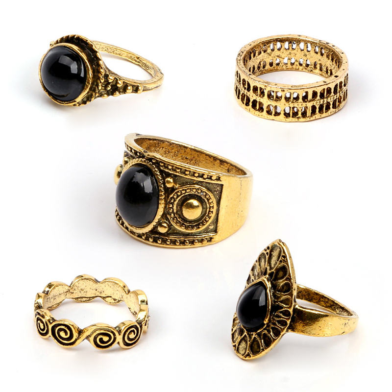 5PCS/Set Vintage Retro Antique Rings Fashion Black Stone Carving Ring Set Decor Gift - Golden