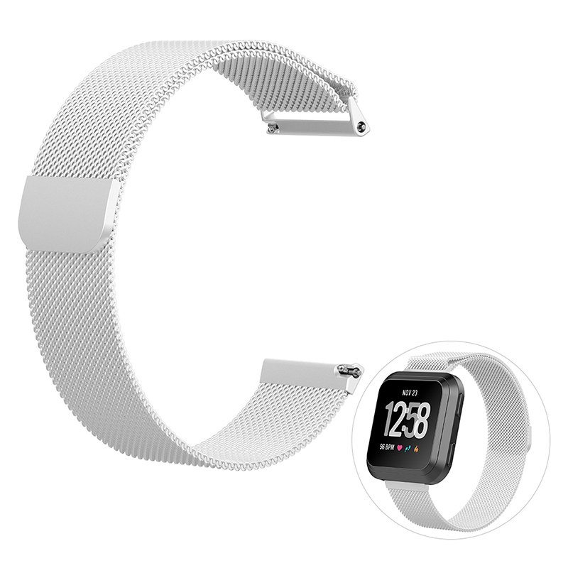Large Milanese Metal Replacement Watchband Magnetic Stainless Steel Watch Strap for Fitbit Versa - Silver