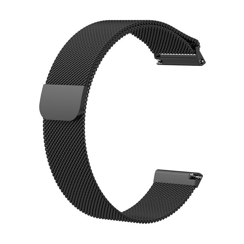Large Milanese Metal Replacement Watchband Magnetic Stainless Steel Watch Strap for Fitbit Versa - Black