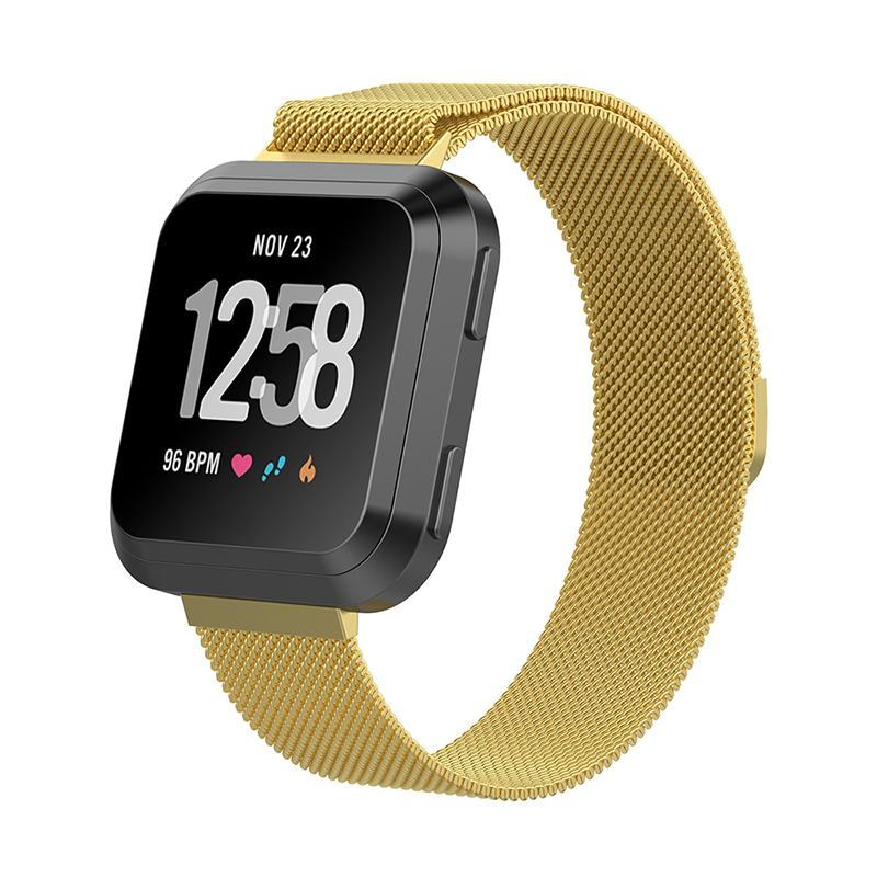 Large Milanese Metal Replacement Watchband Magnetic Stainless Steel Watch Strap for Fitbit Versa - Golden