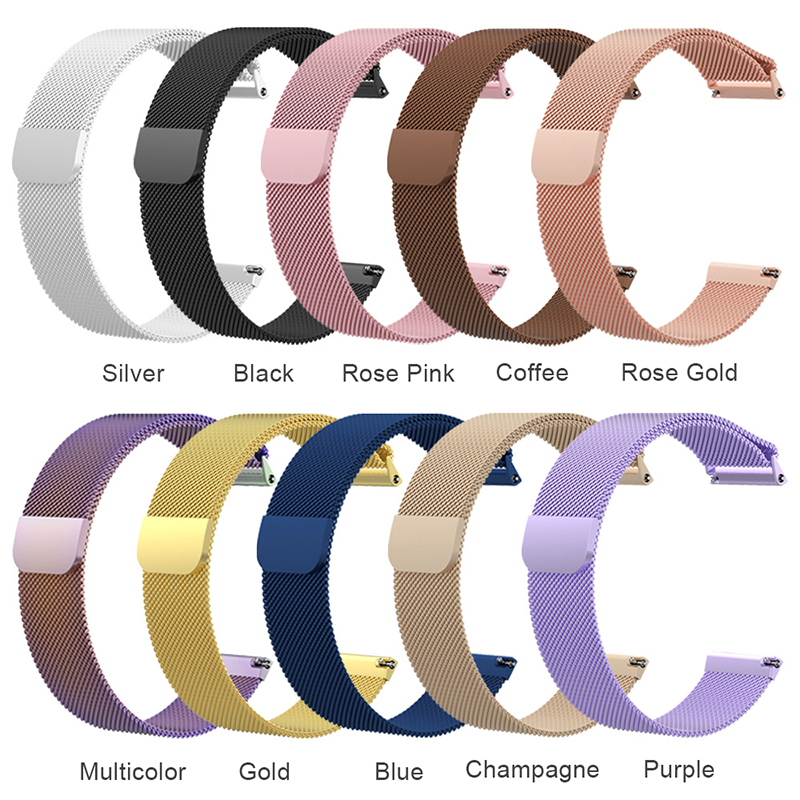 Large Milanese Metal Replacement Watchband Magnetic Stainless Steel Watch Strap for Fitbit Versa - Rose Golden