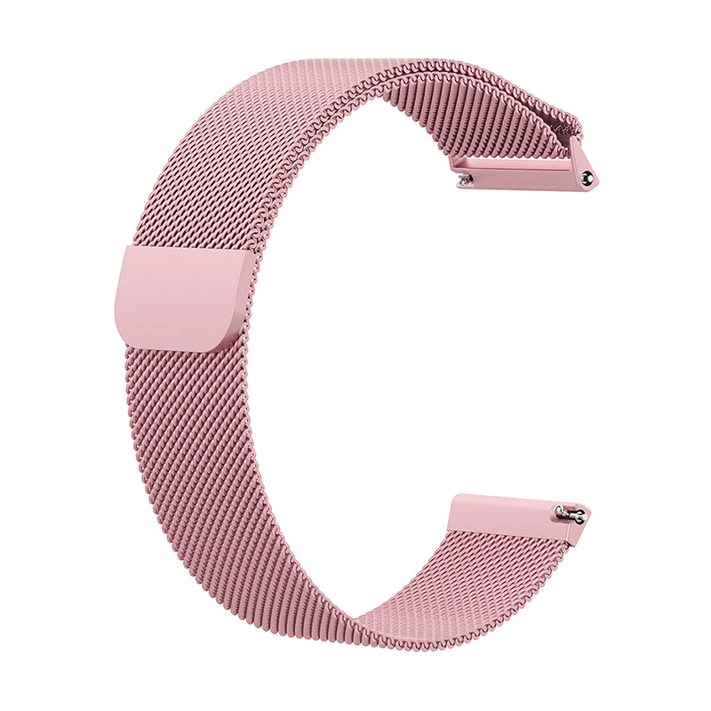 Large Milanese Metal Replacement Watchband Magnetic Stainless Steel Watch Strap for Fitbit Versa - Rose Pink