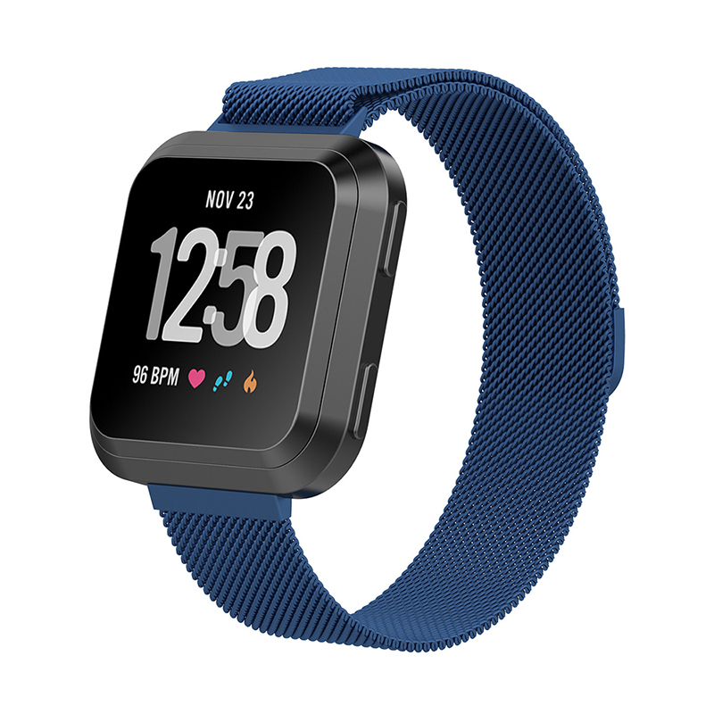 Large Milanese Metal Replacement Watchband Magnetic Stainless Steel Watch Strap for Fitbit Versa - Blue