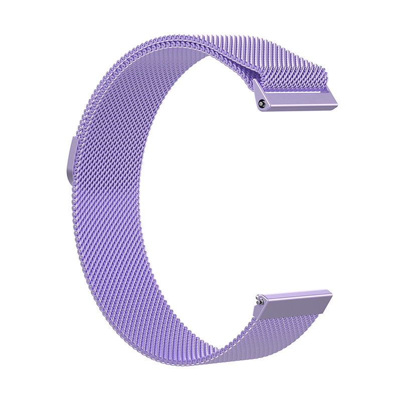 Large Milanese Metal Replacement Watchband Magnetic Stainless Steel Watch Strap for Fitbit Versa - Purple