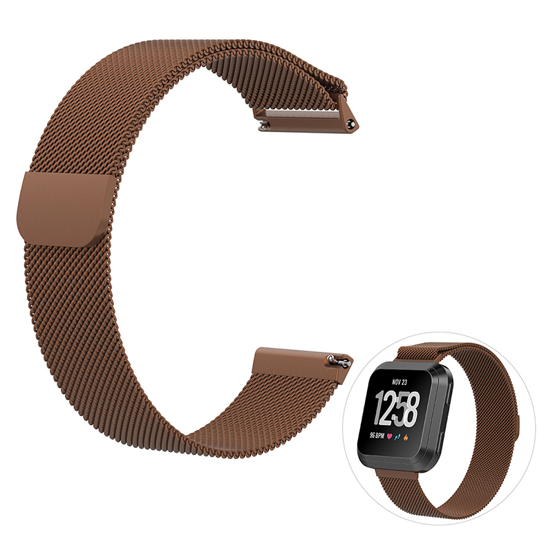 Large Milanese Metal Replacement Watchband Magnetic Stainless Steel Watch Strap for Fitbit Versa - Coffee
