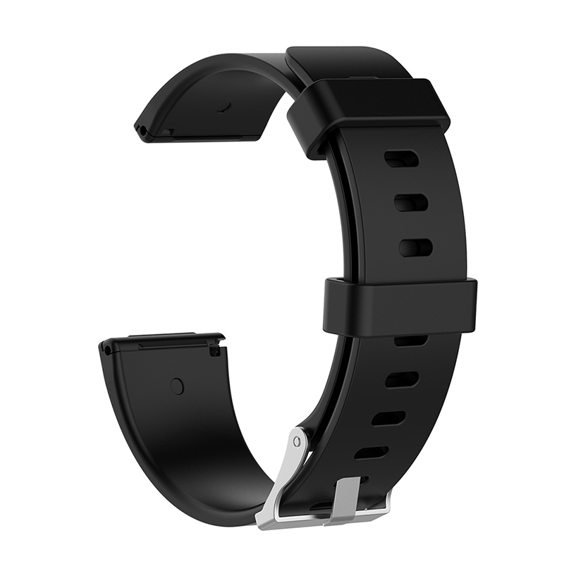 Large Silicone Sports Watch Band Flexible Adjustable Replacement Wrist Strap for Fitbit Versa - Black