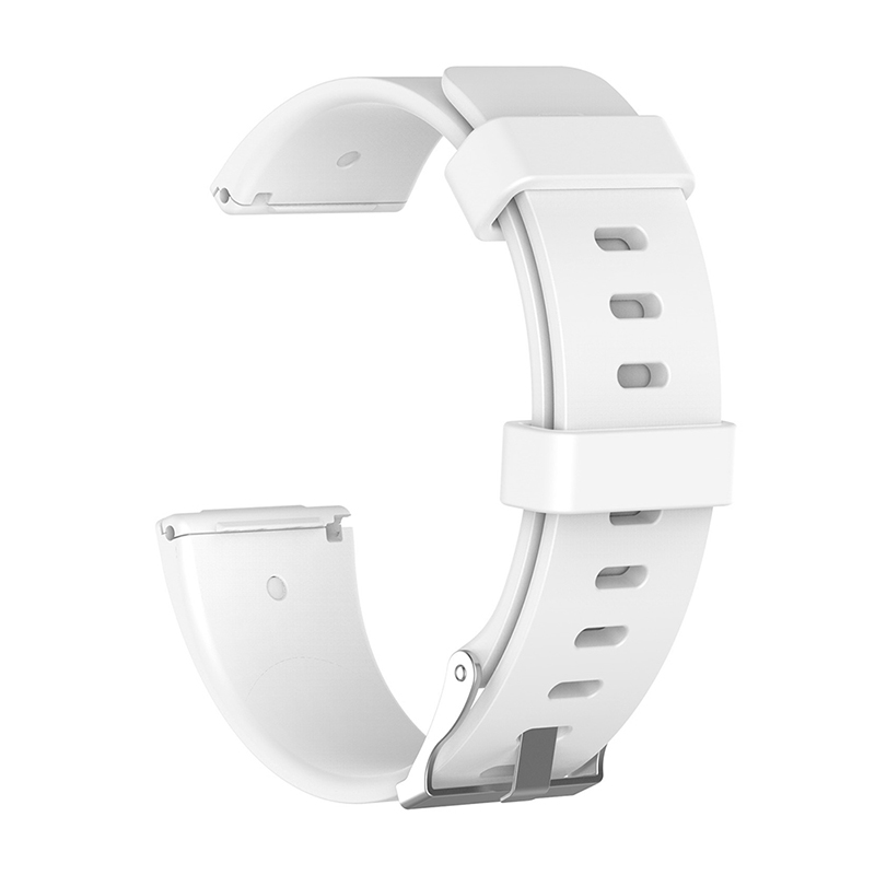 Large Silicone Sports Watch Band Flexible Adjustable Replacement Wrist Strap for Fitbit Versa - White