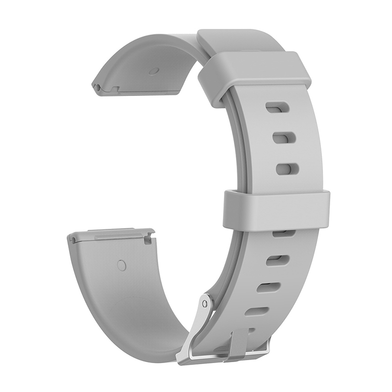 Large Silicone Sports Watch Band Flexible Adjustable Replacement Wrist Strap for Fitbit Versa - Grey