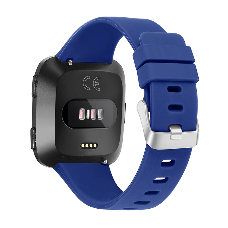 Large Silicone Sports Watch Band Flexible Adjustable Replacement Wrist Strap for Fitbit Versa - Blue