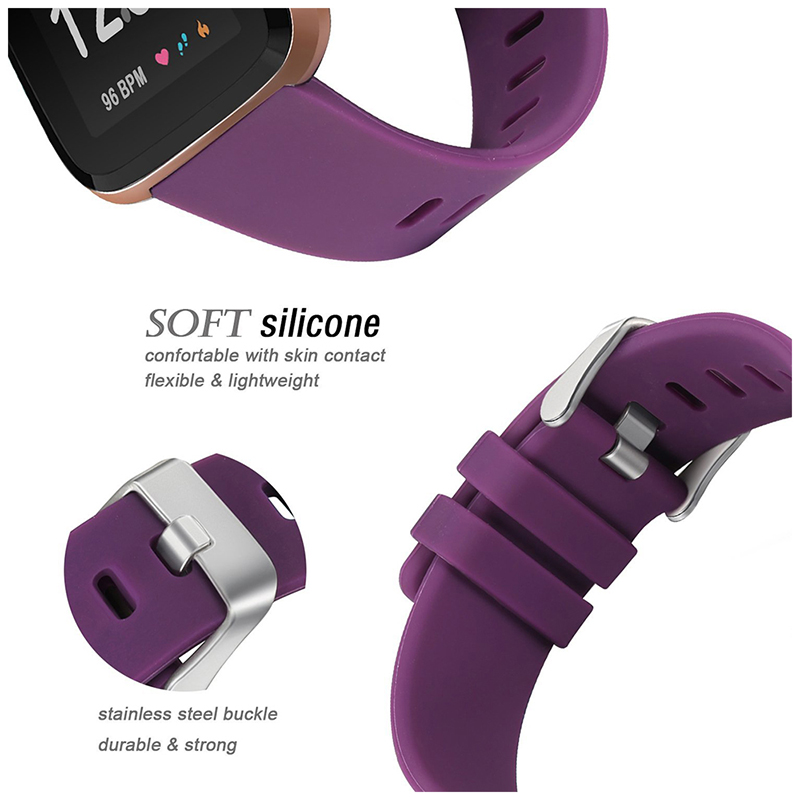 Large Silicone Sports Watch Band Flexible Adjustable Replacement Wrist Strap for Fitbit Versa - Purple