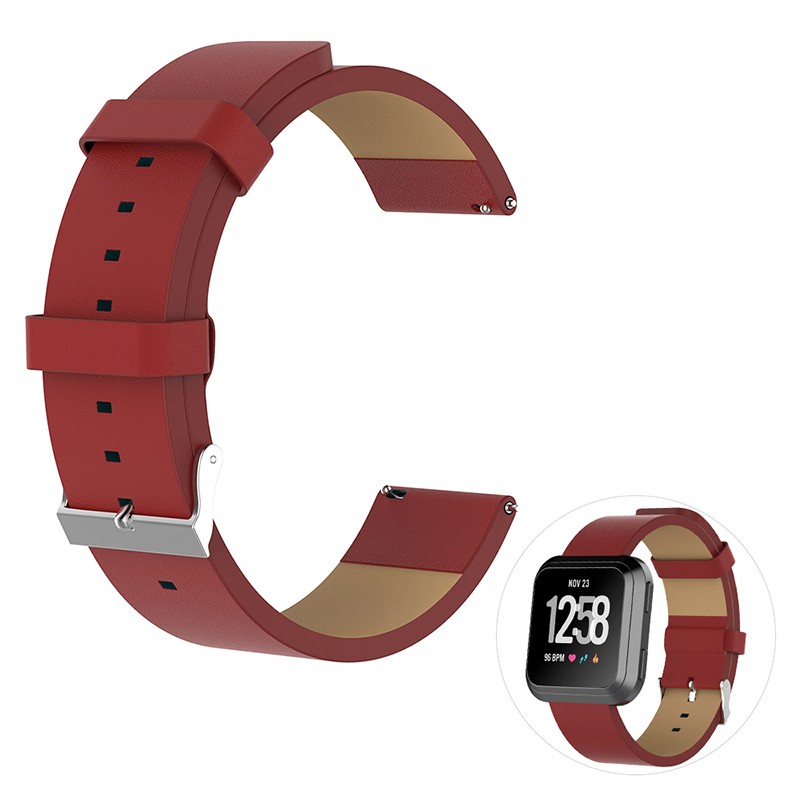 Vintage PU Leather Replacement Watchband Adjustable Watch Wrist Strap for Fitbit Versa - Red