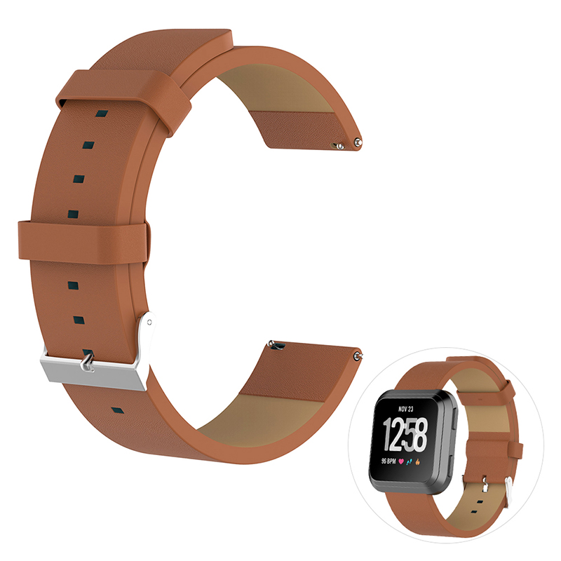 Vintage PU Leather Replacement Watchband Adjustable Watch Wrist Strap for Fitbit Versa - Brown