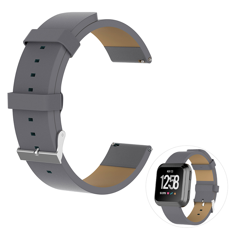 Vintage PU Leather Replacement Watchband Adjustable Watch Wrist Strap for Fitbit Versa - Grey