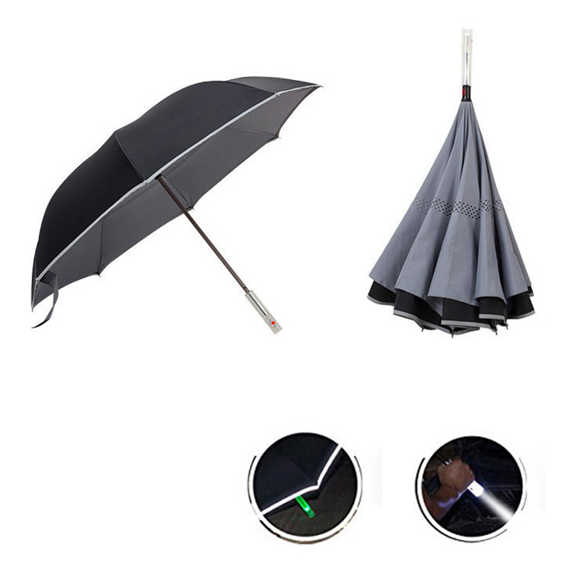 Reverse Inverted Safety Umbrella with LED Handle Warning SOS Signal for Cars - Grey