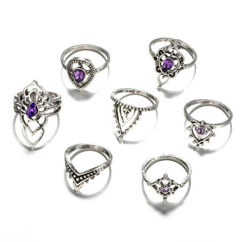 7PCS Bohemian Vintage Women's Rainstone Finger Rings Punk Jewelry Ring Set