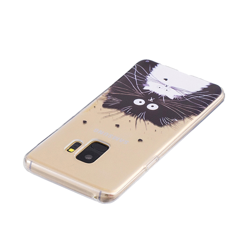 Samsung Printed Rubber Case Soft TPU Protective Phone Cover Shell for Galaxy S9 - Cat