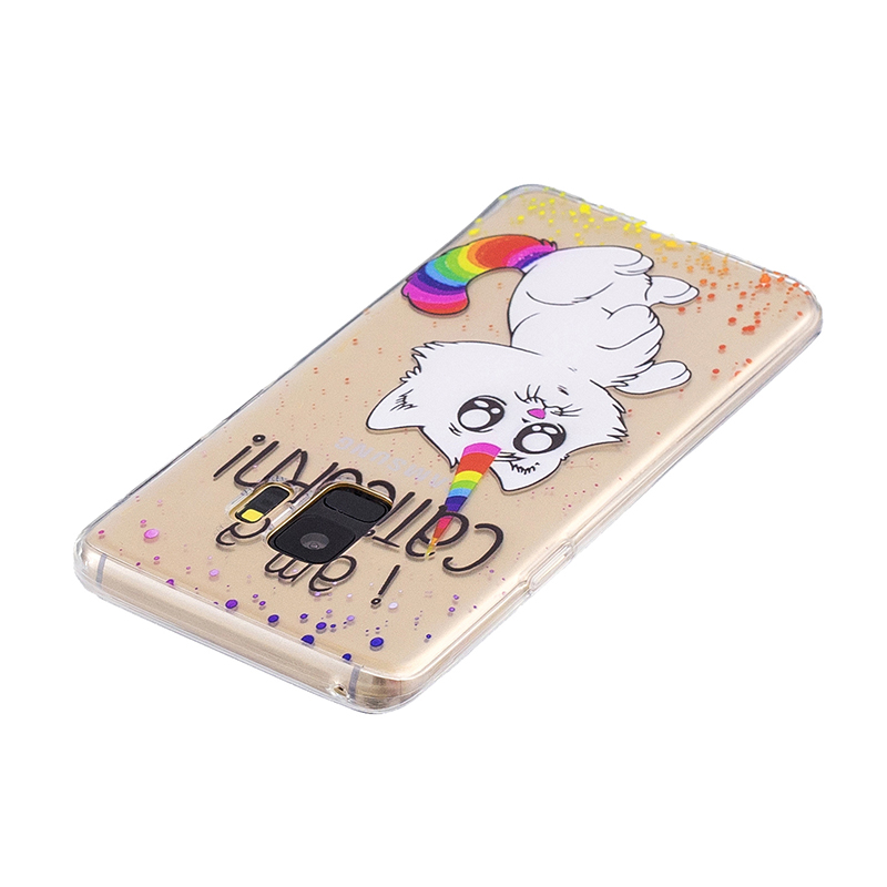 Samsung Printed Rubber Case Soft TPU Protective Phone Cover Shell for Galaxy S9 - Rainbow Cat