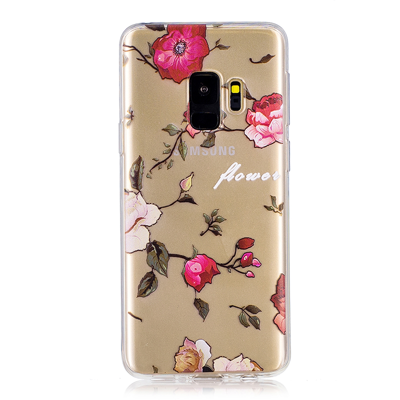 Samsung Printed Rubber Case Soft TPU Protective Phone Cover Shell for Galaxy S9 - Flower