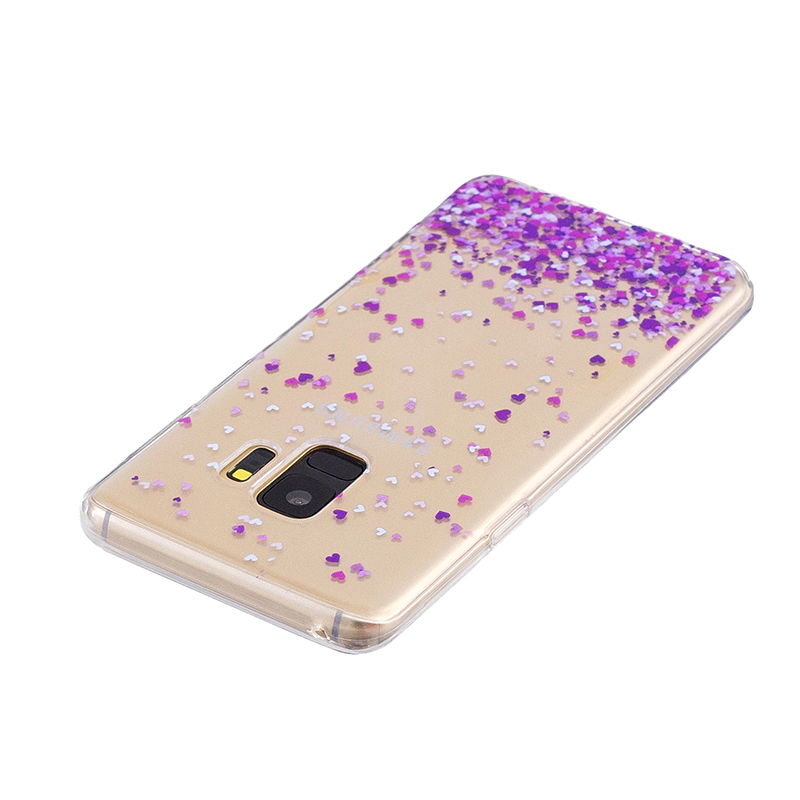 Samsung Printed Rubber Case Soft TPU Protective Phone Cover Shell for Galaxy S9 - Purple Heart
