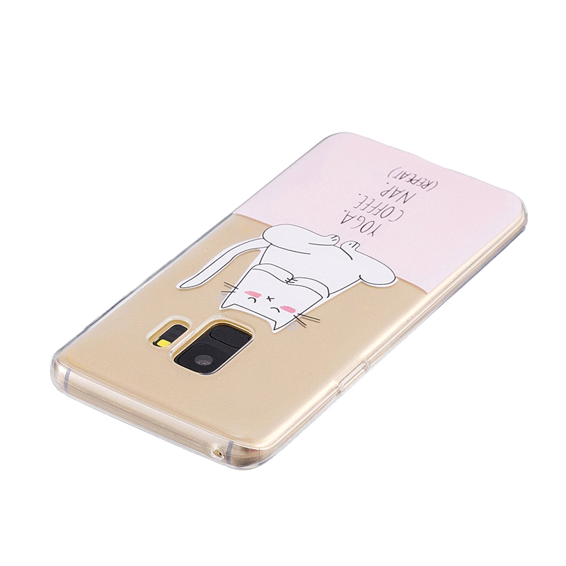 Samsung Printed Rubber Case Soft TPU Protective Phone Cover Shell for Galaxy S9 - Yoga Cat