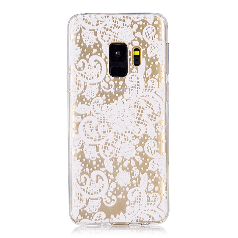 Samsung Printed Rubber Case Soft TPU Protective Phone Cover Shell for Galaxy S9 - Lace Flower