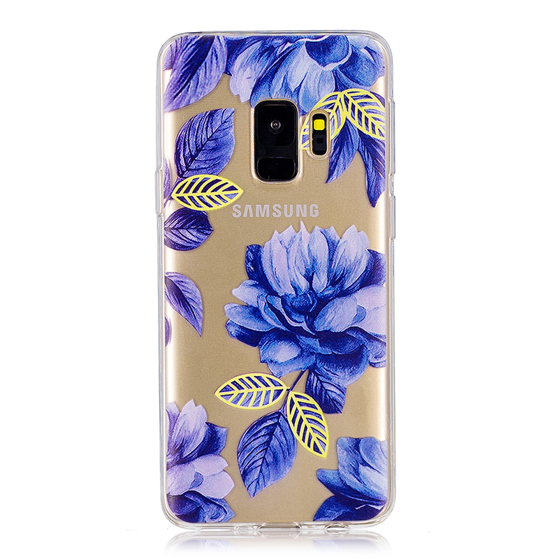 Samsung Printed Rubber Case Soft TPU Protective Phone Cover Shell for Galaxy S9 - Blue Flowers