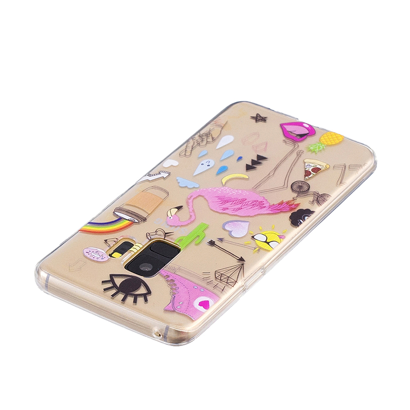 Samsung Printed Rubber Case Soft TPU Protective Phone Cover Shell for Galaxy S9 - Flamingo
