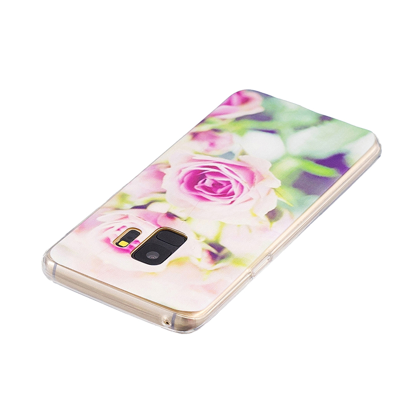 Samsung Printed Rubber Case Soft TPU Protective Phone Cover Shell for Galaxy S9 - Rose Flower