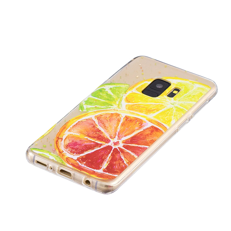 Samsung Printed Rubber Case Soft TPU Protective Phone Cover Shell for Galaxy S9 - Lemon